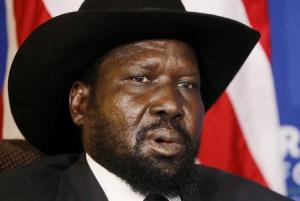 South Sudan's President Salva Kiir speaks during a meeting with U.S. Secretary of State John Kerry at the U.S.-Africa Business Forum in Washington