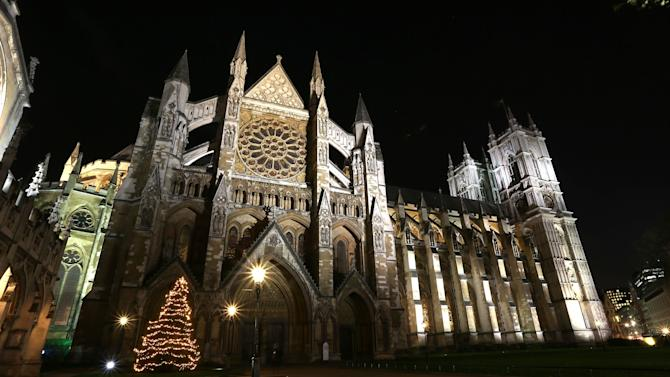 Westminster Abbey Christmas Tree Lights Switched On