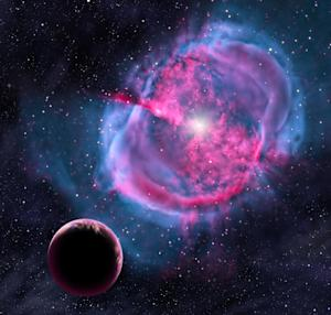 """This artist's conception provided by the Harvard-Smithsonian Center for Astrophysics depicts an Earth-like planet orbiting an evolved star that has formed a stunning """"planetary nebula."""" Earlier in its life, this planet may have been like one of the eight newly discovered worlds orbiting in the habitable zones of their stars. (AP Photo/Harvard-Smithsonian Center for Astrophysics, David A. Aguilar)"""