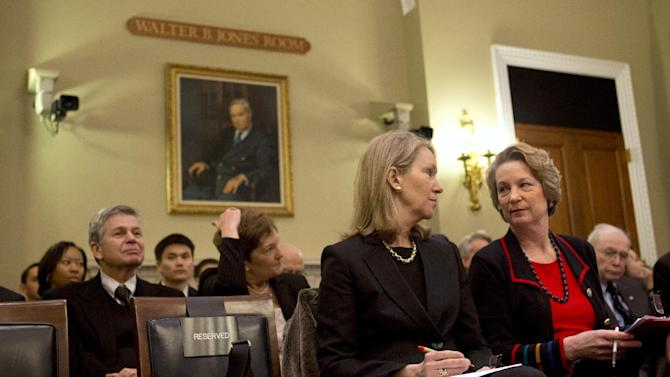 Anne Eisenhower, left, and Susan Eisenhower, granddaughters of former president Dwight D. Eisenhower, attend a House subcommittee on Public Lands and Environmental Regulation hearing on Capitol Hill in Washington, Tuesday, March 19, 2013, on the Dwight D. Eisenhower Memorial Completion Act. (AP Photo/Jacquelyn Martin)