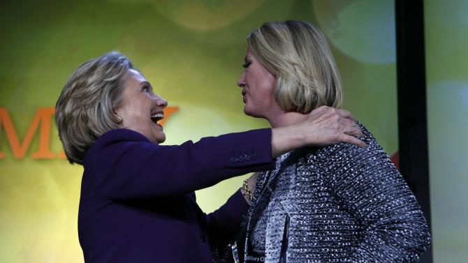 """Former secretary of state Hillary Clinton receives the """"We Are EMILY"""" Award in Washington"""