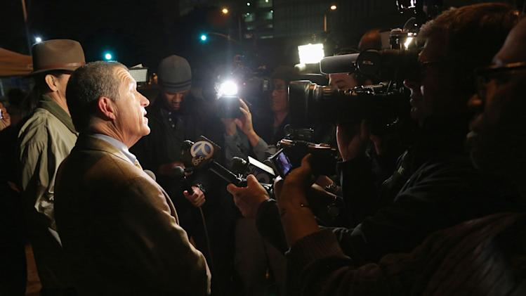 Los Angeles County Sheriff's Department spokesman Whitmore speaks to the media after Dr. Conrad Murray was released from jail, in Los Angeles