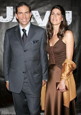 Jim Caviezel and wife at the New York premiere of Touchstone Pictures' Deja Vu