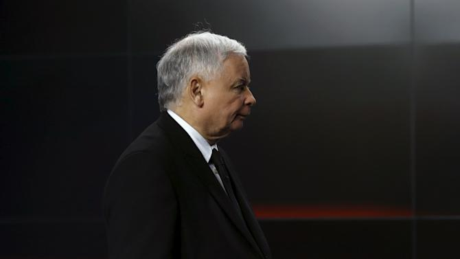 Kaczynski attends a news conference in Warsaw