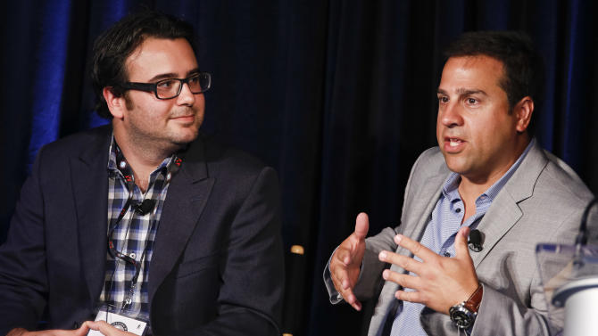 Adam Hirsch, SVP, Emerging Media and Technology, Edelman, and Doug Chavez are seen at Advertising Week on Monday, Oct. 1, 2012 in New York. (Photo by Brian Ach/Invision for Advertising Week/AP Images)