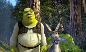 Shrek ( Mike Myers ) and Donkey ( Eddie Murphy ) in Dreamworks' Shrek 2