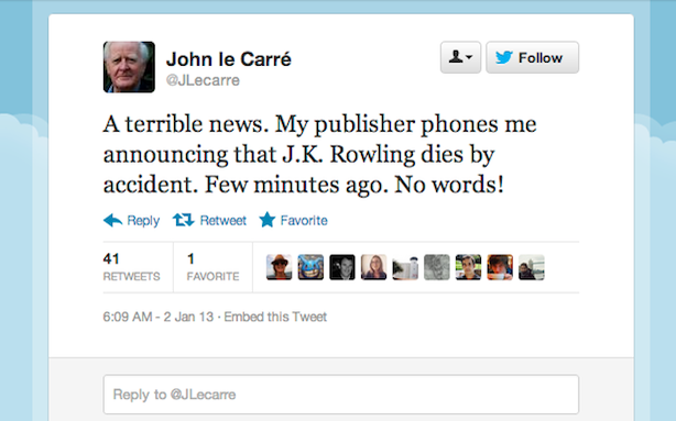 Fake John le Carré Twitter Account Fakes J.K. Rowling's Fake Twitter Death