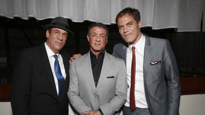 Robert Davi, Sylvester Stallone and Michael Shannon attend the DeLeon Tequila Premiere of The Iceman at the Arclight on Monday, April 22, 2013 in Los Angeles. (Photo by Todd Williamson/Invision for Millennium/AP)