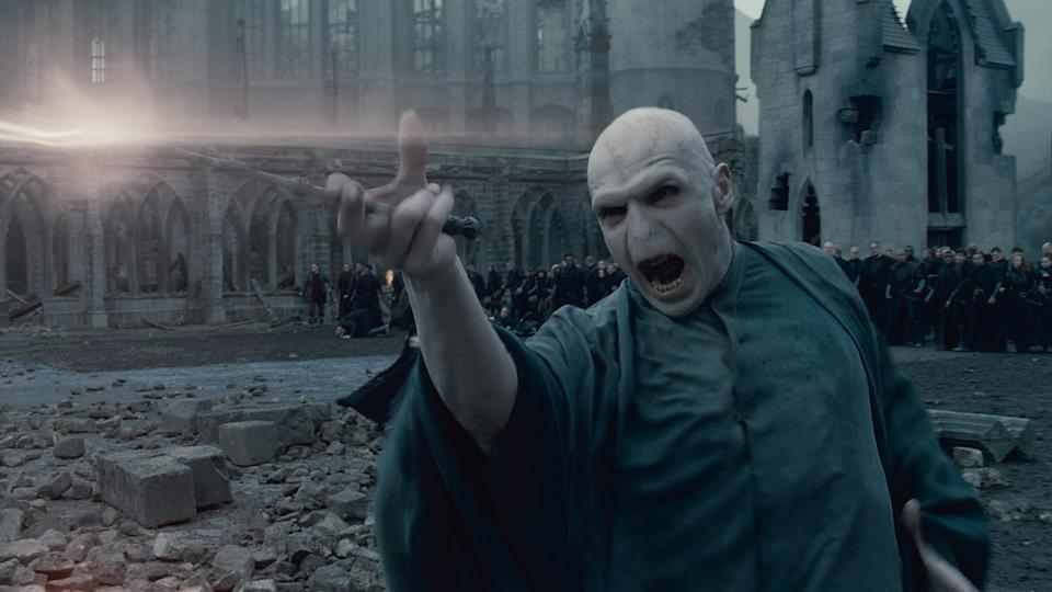 "In this film publicity image released by Warner Bros. Pictures, Ralph Fiennes portrays Lord Voldemort in a scene from ""Harry Potter and the Deathly Hallows: Part 2."" (AP Photo/Warner Bros. Pictures)"