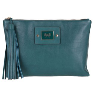 Faithful Velvet Calf Clutch in Holly Anya Hindmarch