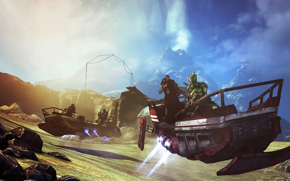 "This undated publicity image released by 2K Games shows the sand skiff in the video game, ""Borderlands 2."" The new campaign tasks players with battling new enemies like sand worms, hovering across the terrain in the new sand skiff vehicle and collecting a new currency called seraph crystals.  (AP Photo/2K Games)"