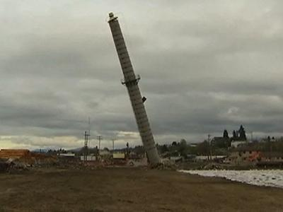 Raw: Smokestack Brought Down After Blast Fails