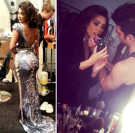 "Kim Kardashian Channels ""Inner Sophia Loren"" in Skintight, Sequined Dress"