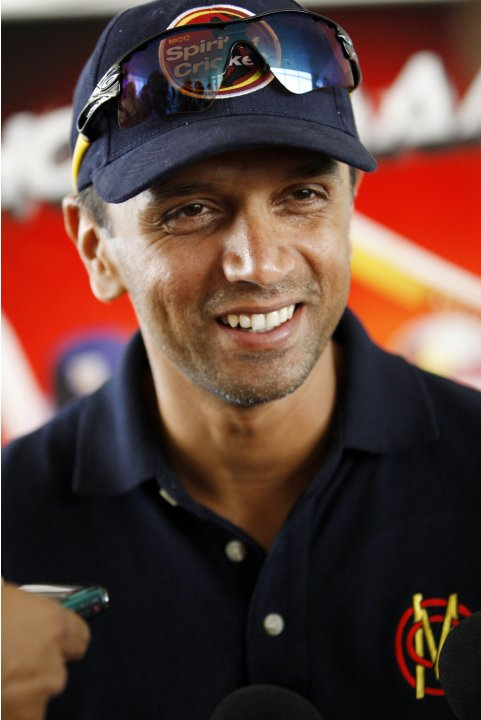 MCC's Dravid speaks to the media after his team's loss to the Sharks during the Emirates Twenty20 cricket match in Dubai