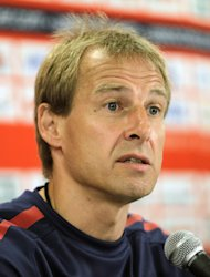U.S. men's soccer team head coach Juergen Klinsmann talks to the media in advance to an international friendly game against Ecuador, Monday, Oct. 10, 2011, in Harrison, N.J. The teams will play at Red Bull Arena on Oct. 11. (AP Photo/Julio Cortez)
