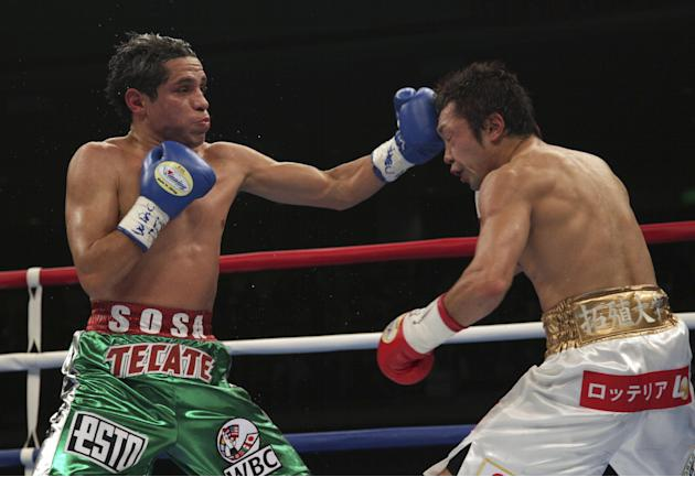 Japanese champion Akira Yaegashi, right, gets a punch from Mexican challenger Edgar Sosa in the sixth round of their WBC flyweight boxing title bout in Tokyo, Friday, Dec. 6, 2013. Yaegash defended hi