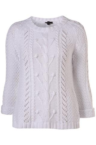 Knitted white cable jumper, $76, at Topshop