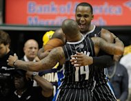 INDIANAPOLIS, IN - APRIL 28: Glen Davis #11 of the Orlando Magic celebrates a 81-77 victory over the Indiana Pacers with Jameer Nelson #14 in Game One of the Eastern Conference Quarterfinals during the 2012 NBA Playoffs on April 28, 2012 at Conseco Fieldhouse in Indianapolis, Indiana.  (Photo by Gregory Shamus/Getty Images)