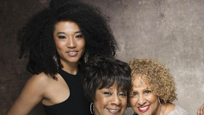 """FILE - This Jan. 21, 2013 file photo shows singers, from left, Judith Hill, Merry Clayton and Darlene Love from the film """"20 Feet from Stardom"""" at the 2013 Sundance Film Festival at the Fender Music Lodge in Park City, Utah. Hill, Clayton, Love and Lisa Fischer are set to perform """"The Star-Spangled Banner"""" before the 100th Rose Bowl game on Jan. 1 in Pasadena. (Photo by Victoria Will/Invision/AP, File)"""