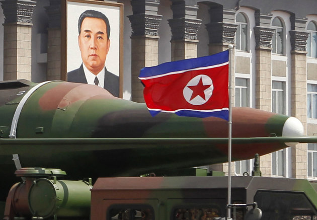 In this photo taken Sunday, April 15, 2012, what appears to be a new missile is carried during a mass military parade at the Kim Il Sung Square in Pyongyang, North Korea, to celebrate the 100th annive