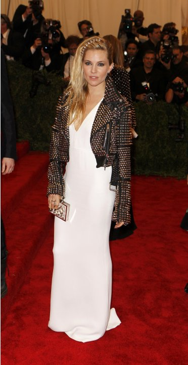 Actress Sienna Miller arrives at the Metropolitan Museum of Art Costume Institute Benefit celebrating the opening of