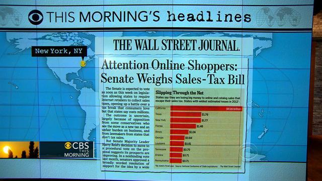 Headlines: Internet retail sales tax under consideration in Senate