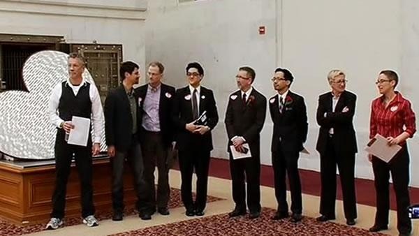 Same-sex couples hold marriage license protest