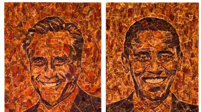 Commander in Beef: Jerky Portraits of Obama and Romney
