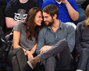 Chace Crawford Cozies Up to Model Rachelle Goulding at New York Knicks Game