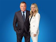 Stars of the current Priceline.com advertising campaign, William Shatner and Kaley Cuoco. REUTERS/Priceline.com