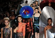 Creations by Indian designer Manish Arora for Paco Rabanne during the Spring/Summer 2012 ready-to-wear