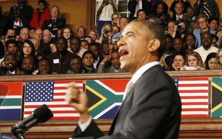 U.S. President Barack Obama delivers remarks at the University of Cape Town