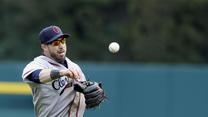 Cleveland Indians second baseman Jason Kipnis throws out Detroit Tigers' Jose Iglesias during the fourth inning of a baseball game, Saturday, April 25, 2015, in Detroit. (AP Photo/Carlos Osorio)