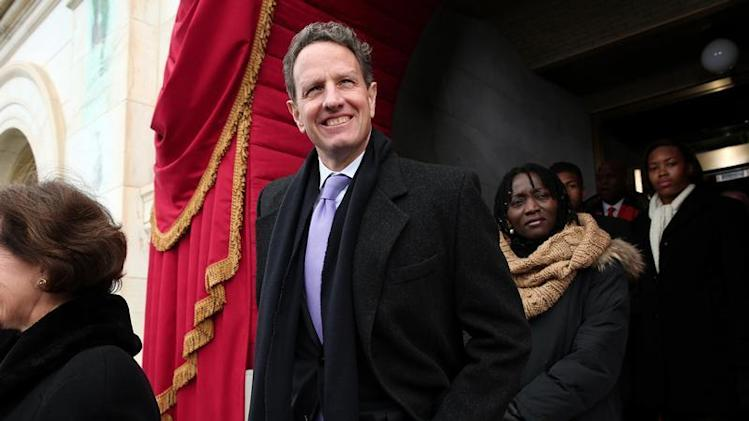 Outgoing Treasury Secretary Geithner arrives for the presidential inauguration on the West Front of the U.S. Capitol in Washington