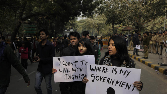 Indian members of All India Students' Association (AISA) participate in a protest march in New Delhi, India, Monday, Dec. 31, 2012. The gang-rape and killing of a New Delhi student has set off an impassioned debate about what India needs to do to prevent such a tragedy from happening again. The country remained in mourning Monday, two days after the 23-year-old physiotherapy student died from her internal wounds in a Singapore hospital. (AP Photo/Manish Swarup)