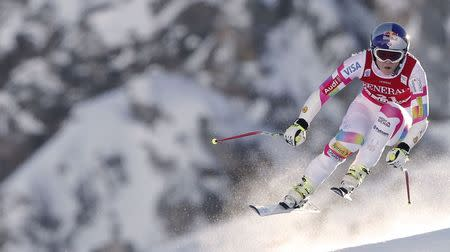 Vonn of the U.S. skis during the women's World Cup Super G skiing race in Val d'Isere