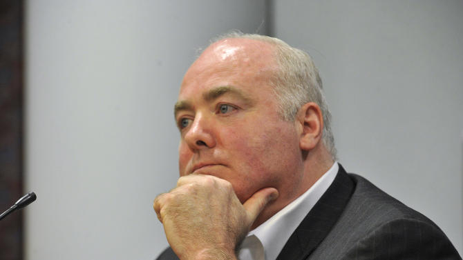 Michael Skakel testifies during his appeal trial at Rockville Superior Court in Vernon, Conn., on Thursday, April 25, 2013.   Skakel launched a barrage of criticism Thursday against the attorney who represented him at his murder trial, saying he failed to track down key witnesses while having fun and basking in the limelight.  Skakel is serving 20 years to life in prison for the 1975 golf club bludgeoning of Martha Moxley in Greenwich when they were both 15 years old. Skakel argues trial attorney Michael Sherman got caught up in the limelight of the high-profile case and failed to prepare. (AP Photo/The Stamford Advocate, Jason Rearick, Pool)
