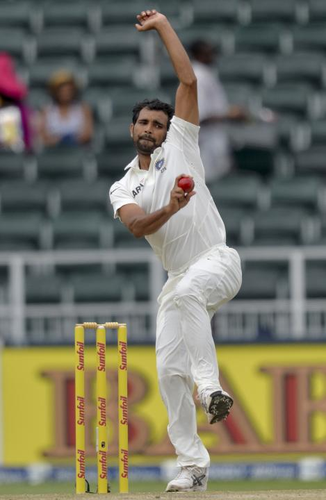 India's Shami makes a delivery during the second day of their cricket test match against South Africa in Johannesburg