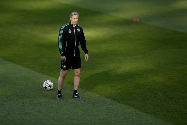 Schalke 04's coach Jens Keller attends a training session at the Santiago Bernabeu stadium in Madrid