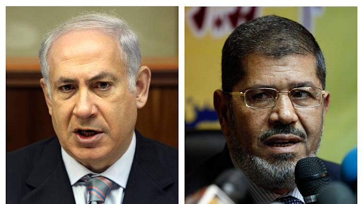 This photo combo shows file photos of Israeli Prime Minister Benjamin Netanyahu, left, and new Egyptian President Mohammed Morsi. Netanyahu has sent a letter of congratulations to Morsi on his election victory and is calling for continued peace between the neighboring countries, Israeli officials said Sunday, July 1, 2012. (AP Photo/Gali Tibbon, Nasser Nasser)