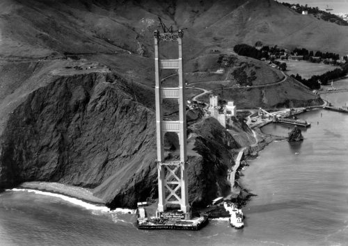 The Marin tower of the Golden Gate Bridge upon completion in 1935. From the holdings of the Golden Gate Bridge, Highway and Transportation District, Used with Permission, www.goldengate.org