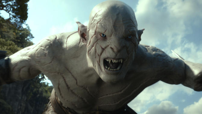 "FILE -This file film image released by Warner Bros. Pictures shows a scene from ""The Hobbit: The Desolation of Smaug."" Per studio estimates Sunday Dec. 15, 2013, Warner Bros. ""Hobbit: The Desolation of Smaug"" was No. 1 at the weekend box office with $73.7 million.(AP Photo/Warner Bros. Pictures)"