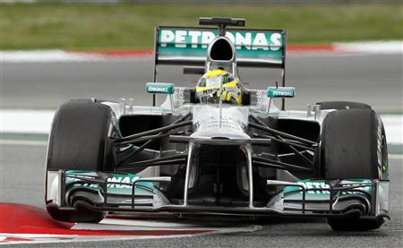 Mercedes Formula One driver Rosberg of Germany drives during the third practice session during the Spanish F1 Grand Prix at the Circuit de Catalunya in Montmelo