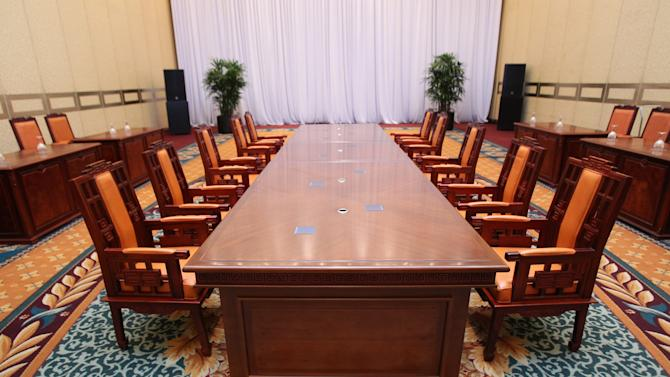 The venue for the Koreas' first high-level meeting is seen at Grand Hilton Hotel in Seoul, South Korea, Tuesday, June 11, 2013. South Korea said its planned talks with North Korea have been scrapped on their eve because of a stalemate over who will lead each delegation. (AP Photo/Ahn Young-joon)