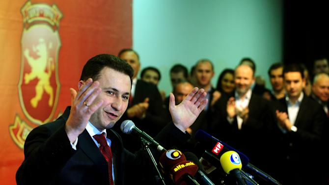 Macedonia's Prime Minister Nikola Gruevski speaks during a press conference in celebration of his party's victory in local elections, in downtown Skopje, Macedonia, early Monday, March 25, 2013.  Macedonians voted peacefully in local elections Sunday, boosting hopes the country is turning a page and won't repeat the political and ethnic violence that has marred past voting cycles. (AP Photo/Boris Grdanoski)