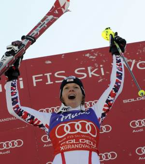 Austria's Marlies Schild celebrates after winning an alpine ski, women's World Cup slalom, in Soldeu-Grandvalira, Andorra, Saturday, Feb. 11, 2012. Marlies Schild of Austria won her sixth World Cup slalom of the season on Saturday after overall leader Lindsey Vonn and defending champion Maria Hoefl-Riesch crashed out in the opening run on the Pyrenees course. (AP Photo/Giovanni Auletta)