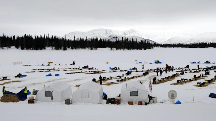 Competitors arrive at the Finger Lake checkpoint in Alaska during the Iditarod Trail Sled Dog Race on Monday, March 4, 2013. (AP Photo/The Anchorage Daily News, Bill Roth)