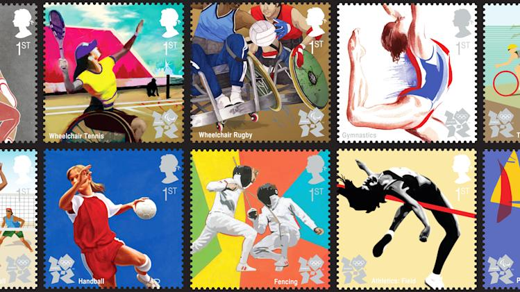 ---- EDITORS NOTE ---- RESTRICTED TO EDITORIAL USE - MANDATORY CREDIT *AFP PHOTO/ROYAL MAIL/HO* - NO MARKETING NO ADVERTISING CAMPAIGNS - DISTRIBUTED AS A SERVICE TO CLIENTS  (COMBO) A combination of images obtained from the Royal Mail on July 22, 2011 shows a set of ten 1st Class stamps that will be issued to celebrate the one year countdown to the London 2012. Royal Mail is issuing a set of ten 1st Class stamps on July 27, 2011 to celebrate the one year countdown to the London 2012 Olympic and Paralympic Games. Titled 'Get ready for 2012', the Special Stamp issue features classic Olympic sports such as field athletics and gymnastics as well as more recent additions to the Olympic and Paralympic Games. AFP PHOTO / ROYAL MAIL / HO (Photo credit should read HO/AFP/Getty Images)
