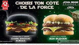 In a galaxy not so far away, burgers are served on black buns.