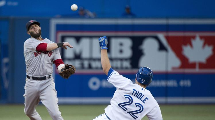 Boston Red Sox second baseman Dustin Pedroia, left, forces out Toronto Blue Jays Josh Thole (22) at second base as he turns the double play during third-inning baseball game action in Toronto, Wednesday, July 23, 2014. (AP Photo/The Canadian Press, Nathan Denette)